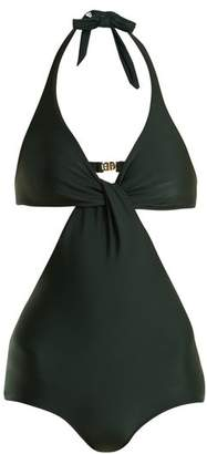 Adriana Degreas - V Neck Cut Out Swimsuit - Womens - Dark Green