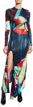 Thierry Mugler Abstract Multicolor Jersey Maxi Dress