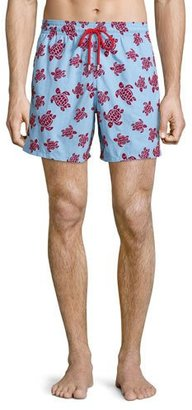 Vilebrequin Moorea Swim Trunks W/ Flocked Turtles, Light Blue $280 thestylecure.com
