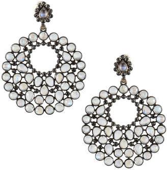 Black Diamond Bavna & Moonstone Hoop Drop Earrings