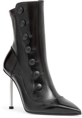 Alexander McQueen Victorian black leather high heel boot