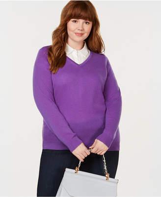 Charter Club Plus Size Pure Cashmere V-Neck Sweater
