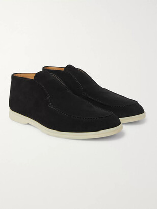 Loro Piana Open Walk Suede Boots - Men - Black