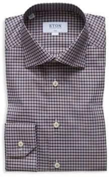 Eton Slim-Fit Plaid Dress Shirt