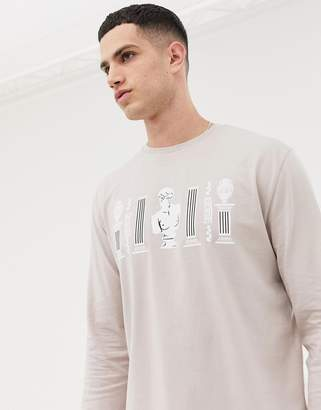 Asos DESIGN relaxed long sleeve t-shirt with historical statue print