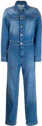 Kenzo logo cuff denim jumpsuit