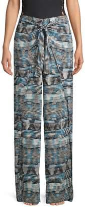 La Blanca Printed Self-Tie Cover-Up Pants