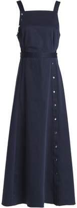 Tibi Fluted Cutout Stretch-Cotton Poplin Maxi Dress