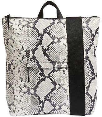 Jigsaw Stevie Leather Zip Backpack, Snake Black