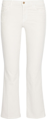 J Brand - Selena Cropped Corduroy Mid-rise Bootcut Pants - White $200 thestylecure.com