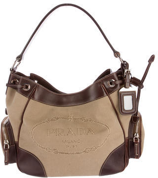 prada Prada Leather-Trimmed Logo Shoulder Bag