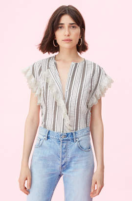 Rebecca Taylor La Vie Corded Stripe Top With Eyelet