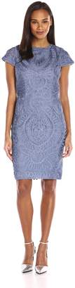 JS Collections Women's Retro Short-Sleeve Mesh All-Over Soutache Lace Cocktail Dress