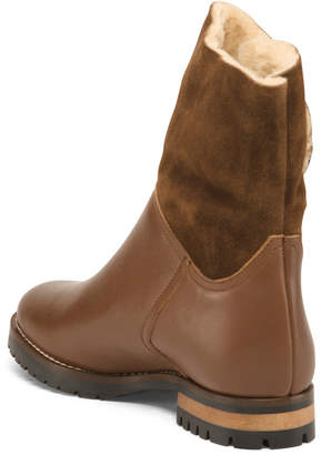 Made In Italy Leather Faux Shearling Lined Lug Sole Boots