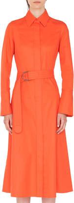 Akris Punto Belted Cotton Bell-Skirt Shirtdress