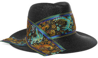 Philip Treacy Raiders Embellished Silk Jacquard-trimmed Straw Trilby - Black