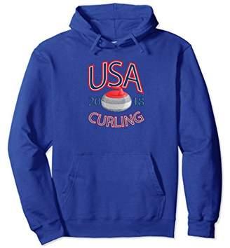 USA Curling Pullover Hooded Sweatshirt
