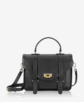 GiGi New York Hayden Satchel, Black Embossed Python