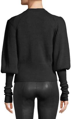 Veronica Beard Jude Jeweled Crewneck Blouson-Sleeve Wool Knit Sweater