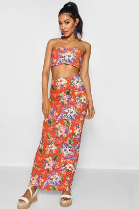 boohoo Tropical Print Basic Jersey Maxi Skirt