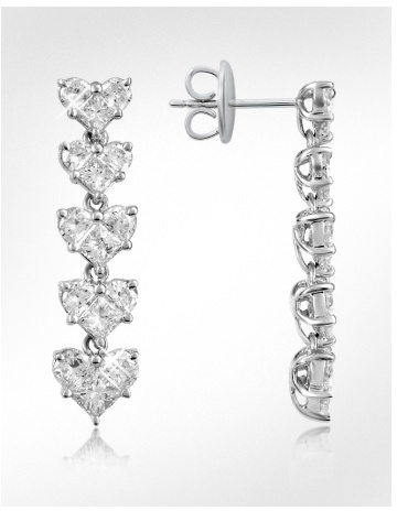 Forzieri Diamond 18K White Gold Dangle Heart Earrings