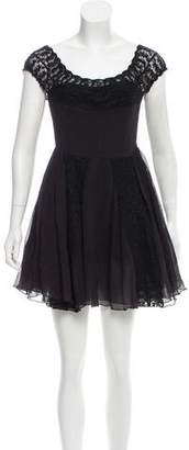 Yaya Aflalo Lace-Trimmed Mini Dress