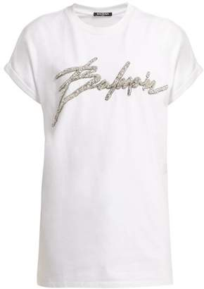 Balmain Sequin Embellished Logo T Shirt - Womens - White Silver
