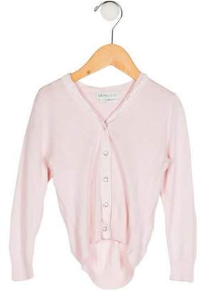Little Paul and Joe Girls' Lace-Trimmed Knit Cardigan