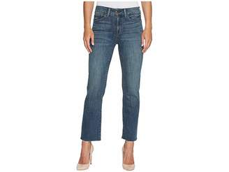 NYDJ Marilyn Straight Ankle Jeans w/ Raw Hem in Crosshatch Denim in Desert Gold Women's Jeans