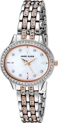 Anne Klein Women's AK/2677MPRT Swarovski Crystal Accented Rose Gold-Tone and Silver-Tone Bracelet Watch