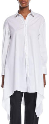Brunello Cucinelli Button-Down Long-Sleeve Long Poplin Tunic w/ Doubled-Collar
