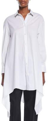 Brunello Cucinelli Button-Down Long-Sleeve Long Poplin Tunic w/ Doubled-Collar