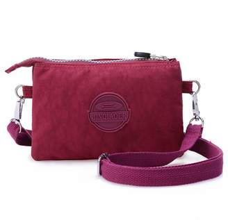 6a15018b57 Tiny Chou Three Layers Zipper Purse Waterproof Nylon Wristlet Bag Cell  Phone Pouch with Shoulder Strap