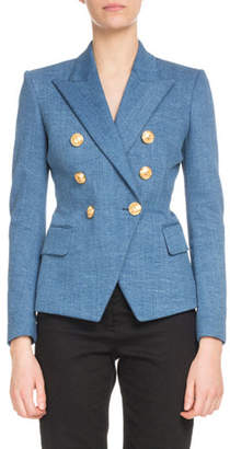 Balmain Double-Breasted Classic Denim Blazer