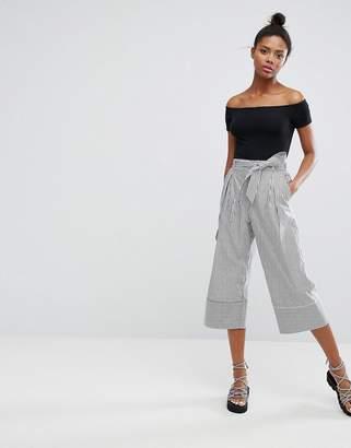 Monki Wide Leg Pinstripe Pants