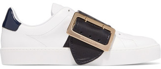 Burberry - Buckle-embellished Patent-trimmed Leather Sneakers - White $675 thestylecure.com