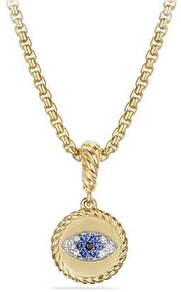 David Yurman Evil Eye Amulet with Diamonds and Blue Sapphire in 18K Gold