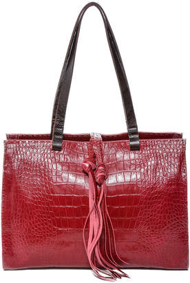 Carla Mancini Croc-Embossed Leather Tote