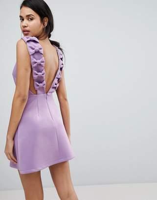 Asos Bow Strap Back A Line Mini Dress