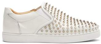 Christian Louboutin Sailor Boat Spike Embellished Slip On Trainers - Mens - Silver