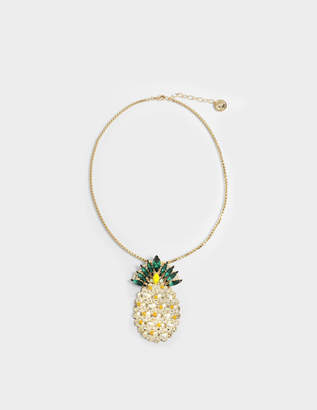 Anton Heunis Pineapple Pendant Necklace in Yellow and Green Metal
