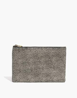 Madewell The Leather Pouch Clutch in Striped Calf Hair