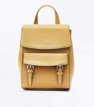 New Look Mustard Leather-Look Structured Backpack