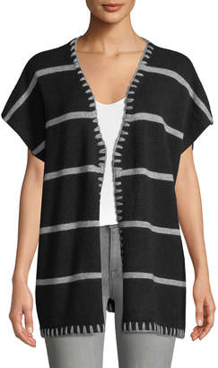 Neiman Marcus Striped Short-Sleeve Cardigan