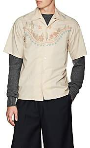 Prada Men's Western-Print Cotton Poplin Short-Sleeve Shirt - Nudeflesh