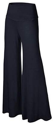 PERSUN Womens High Elastic Waist Palazzo Pants Plus Size Wide Leg Gaucho Lounge Pants,Blue,XXLarge