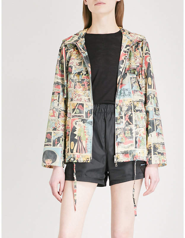 Comic-print nylon windbreaker jacket