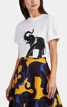 Lanvin Women's Embellished Elephant-Print Cotton T-Shirt - White
