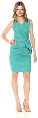 Nicole Miller Women's Solid Cotton Metal Ruffle Front Dress