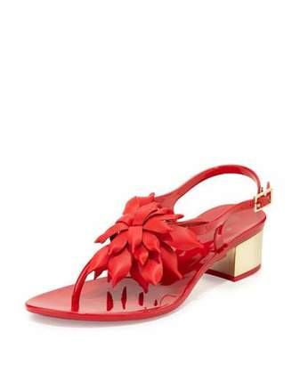 Kate Spade New York Davina Flower Jelly Low-Heel Thong Sandal, Red $135 thestylecure.com